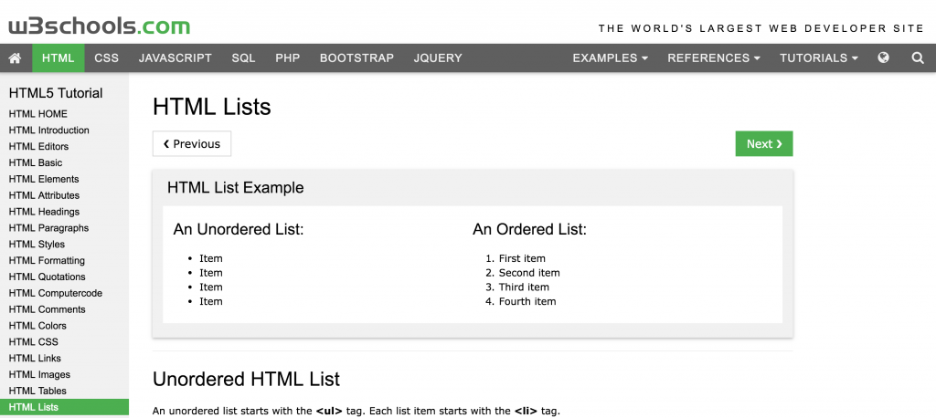 Parsing HTML response - a screenshot of w3schools list page