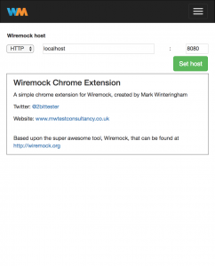 Wiremock chrome extension - Settings